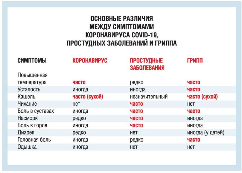 Симптомы коронавируса и нриппа, в чем разница? изображение